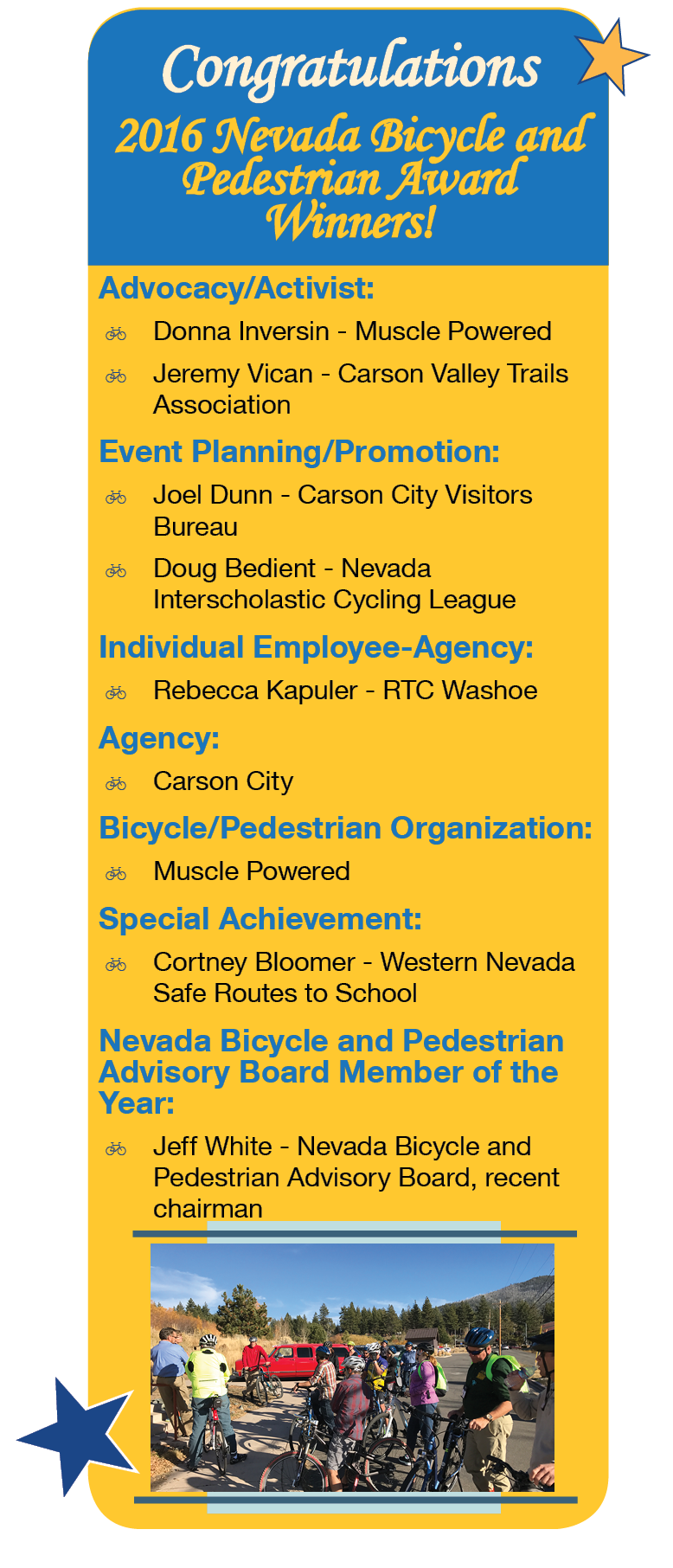 2016 Nevada Bicycle and Pedestrian Award Winners